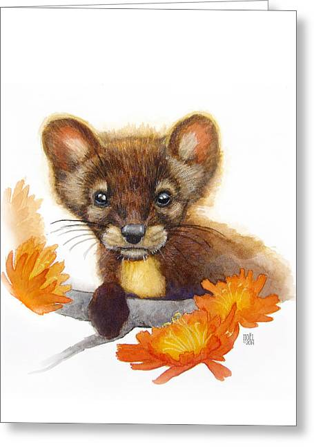 Catherine White Paintings Greeting Cards - Pine Marten Greeting Card by Catherine Noel