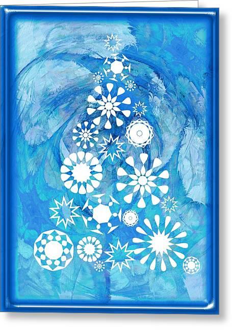 Fractal Greeting Cards Greeting Cards - Pine Tree Snowflakes - Baby Blue Greeting Card by Anastasiya Malakhova