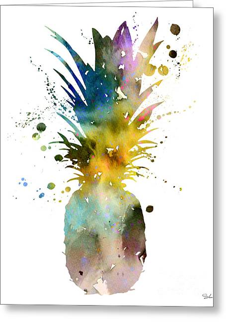 Pineapple Paintings Greeting Cards - Pineapple 2 Greeting Card by Luke and Slavi