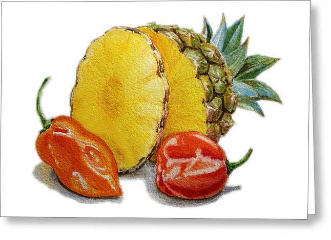 Pineapple And Habanero Peppers  Greeting Card by Irina Sztukowski