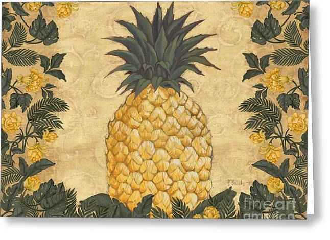 Pineapple Paintings Greeting Cards - Pineapple Floral Greeting Card by Paul Brent