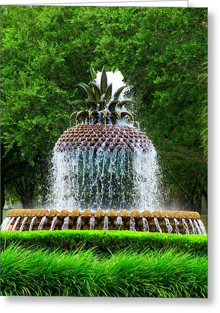 The Battery Greeting Cards - Pineapple Fountain 1 Greeting Card by Randall Weidner