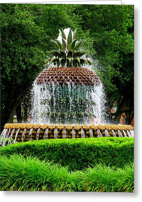 The Battery Greeting Cards - Pineapple Fountain 2 Greeting Card by Randall Weidner