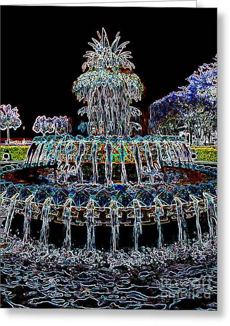 Fountain Digital Art Greeting Cards - Pineapple Fountain - Neon Night Greeting Card by Carol Groenen
