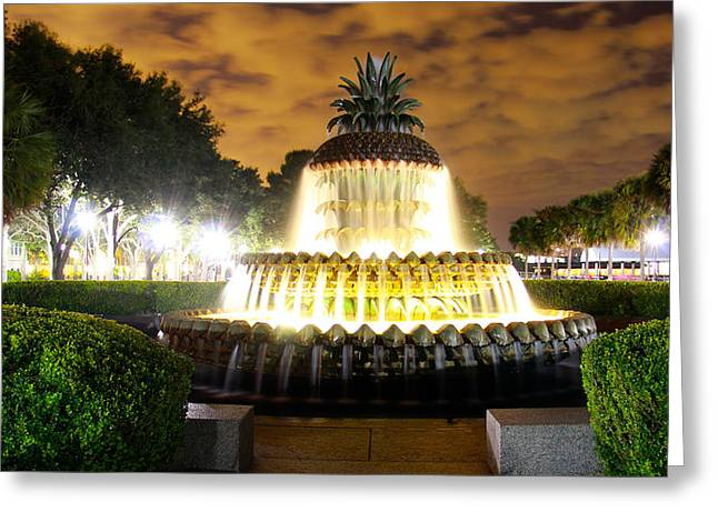 Fountain Photograph Greeting Cards - Pineapple Fountait Charleston South Carolina V2 Greeting Card by Christopher  Ward