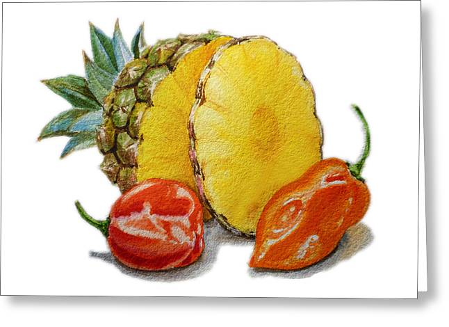 Pepper Paintings Greeting Cards - Pineapple Habanero Muy Caliente   Greeting Card by Irina Sztukowski