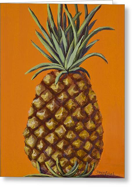 Lahaina Greeting Cards - Pineapple on Orange Greeting Card by Darice Machel McGuire