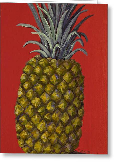 Tropical Fruit Greeting Cards - Pineapple on Red Greeting Card by Darice Machel McGuire