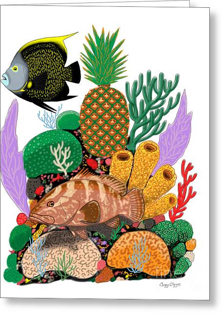Sponge Greeting Cards - Pineapple Reef Greeting Card by Carey Chen
