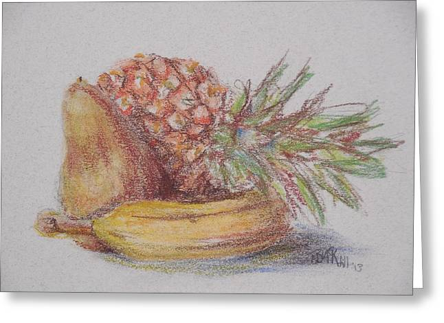 Banana Pastels Greeting Cards - Pineapple Still Life Greeting Card by Melissa Hill