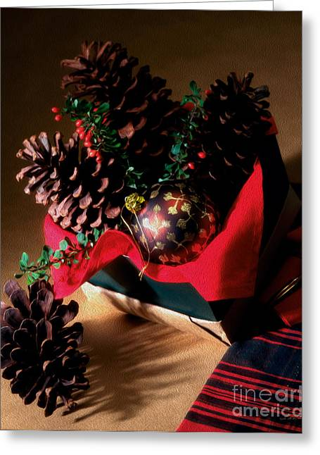 Owner Greeting Cards - Pinecones Christmasbox Painted Greeting Card by Iris Richardson