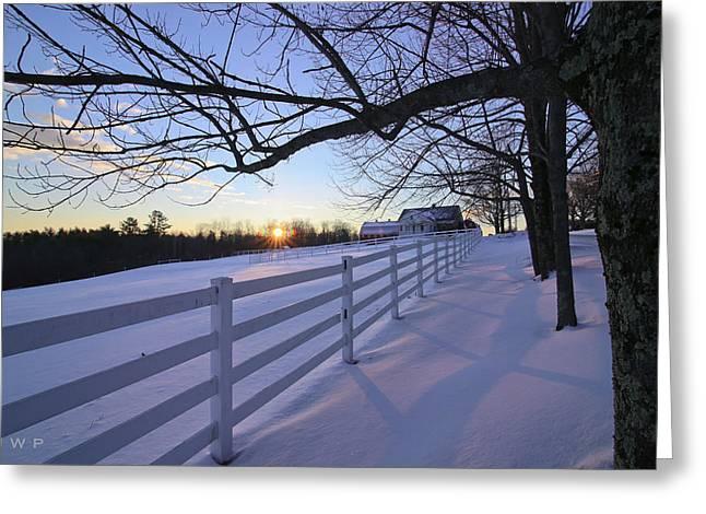 Maine Farms Greeting Cards - Pineland sunrise Greeting Card by Jonathan Woodbury