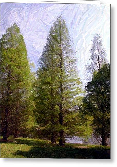 Pines Tapestries - Textiles Greeting Cards - Pines Across Lake Nevin Greeting Card by Thia Stover