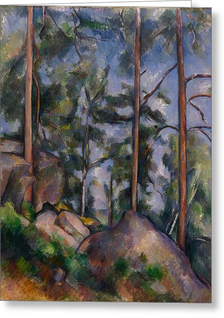 Fontainebleau Greeting Cards - Pines and Rocks.Fontainebleau Greeting Card by Paul Cezanne