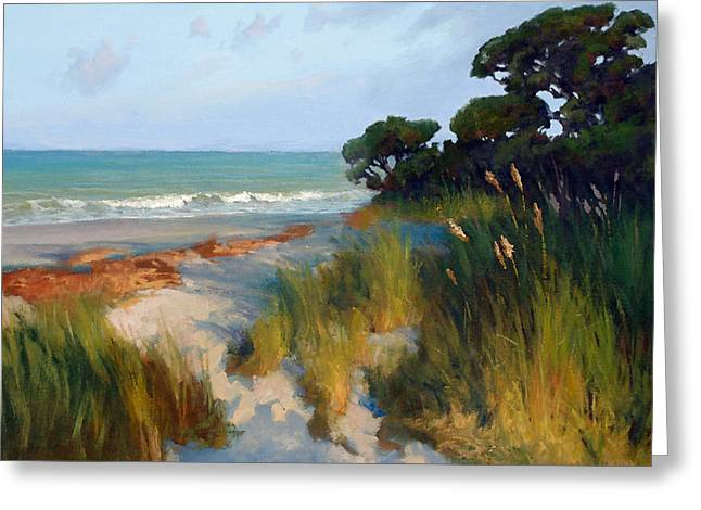 Sea Oats Greeting Cards - Pines and Sea Oats Greeting Card by Armand Cabrera
