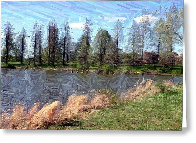 Pines Tapestries - Textiles Greeting Cards - Pines Around Lake Nevin Greeting Card by Thia Stover