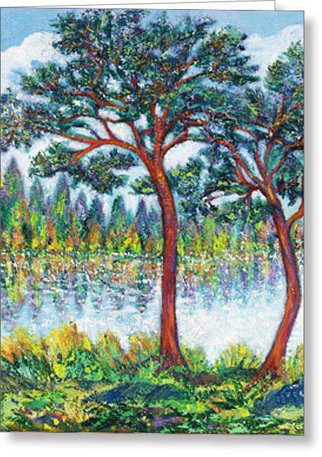 Gay Art Framed Giclee On Canvas Greeting Cards - PINES at LAKESIDE Greeting Card by Gunter  Hortz