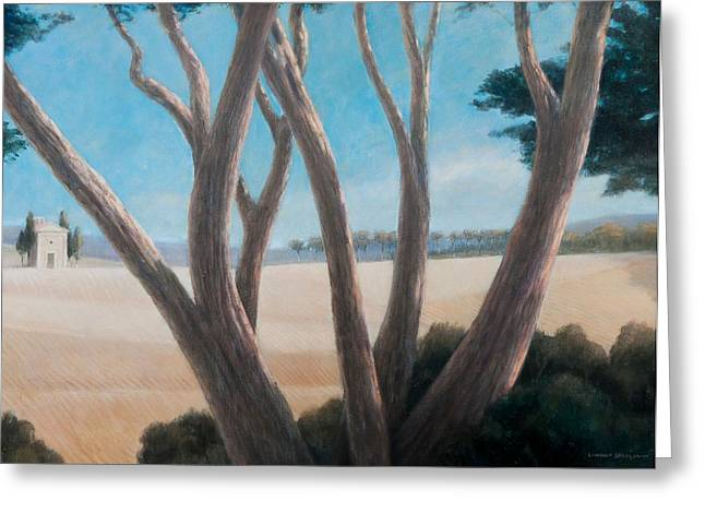 Pines Greeting Cards - Pines Near Pienza, 2012 Acrylic On Canvas Greeting Card by Lincoln Seligman