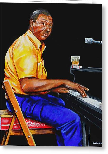 Pinetop Perkins Greeting Card by Karl Wagner