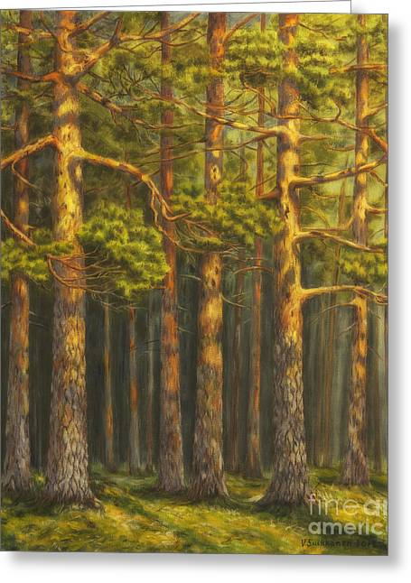 Tall Paintings Greeting Cards - Pinewood Greeting Card by Veikko Suikkanen