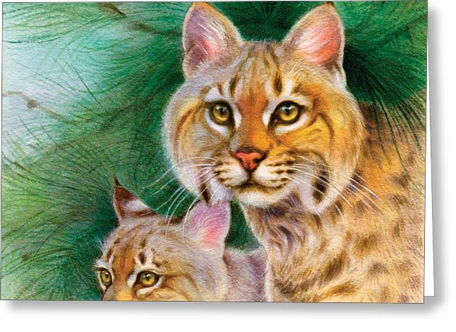 Pinewoods Bobcat Greeting Card by Tracy Herrmann