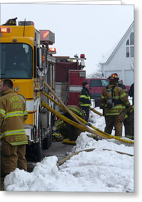 Pingree Grove Fire Department Greeting Card by David Bearden