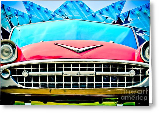 Casino Pier Greeting Cards - Pink 57 Chevy Greeting Card by Colleen Kammerer