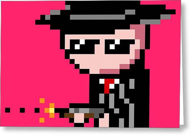 8 Bit Greeting Cards - Pink 8 Bit Gangsta Greeting Card by Ivan Porrini
