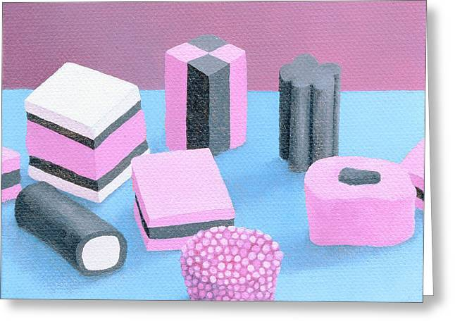Assorted Greeting Cards - Pink Allsorts, 2003 Oil On Canvas Greeting Card by Ann Brain
