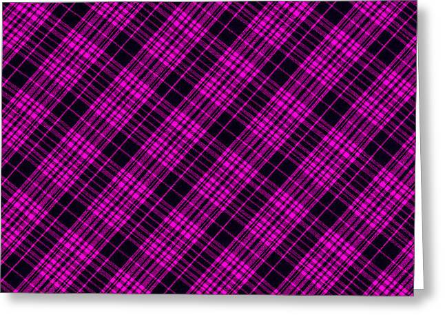 Checked Tablecloths Photographs Greeting Cards - Pink and Black Plaid Cloth Background Greeting Card by Keith Webber Jr