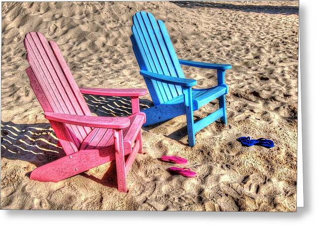 Pink and blue Beach Chairs with matching Flip Flops Greeting Card by Michael Thomas