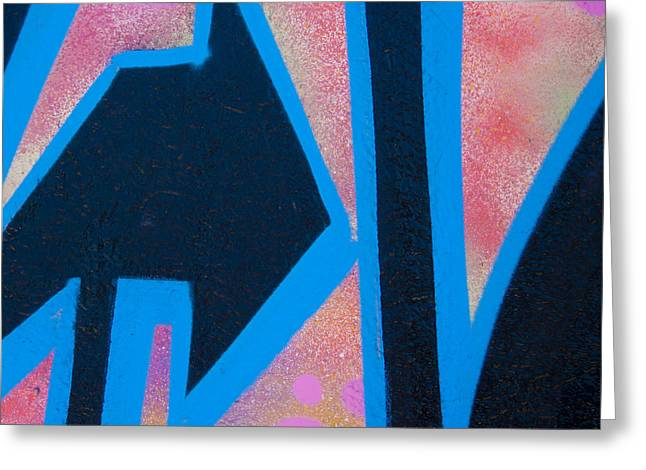 Arrow Abstract Greeting Cards - Pink and Blue Graffiti Arrow Square Greeting Card by Carol Leigh