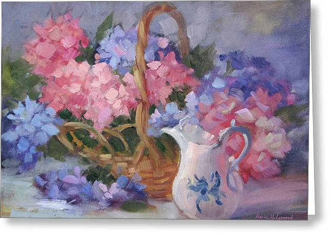 Karin Leonard Greeting Cards - Pink and Blue Hydrangeas Greeting Card by Karin  Leonard