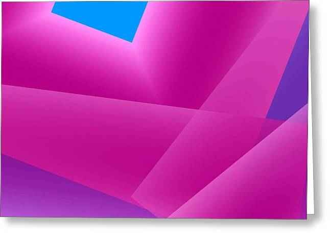 Transparency Geometric Digital Greeting Cards - Pink and Blue Mixed Geometrical Art Greeting Card by Mario  Perez