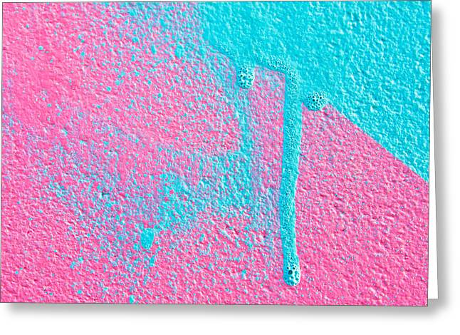 Dribble Greeting Cards - Pink and blue paint Greeting Card by Tom Gowanlock