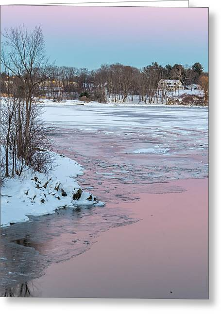 Winter In Maine Greeting Cards - Pink And Blue Sky Tonight Greeting Card by Stroudwater Falls Photography