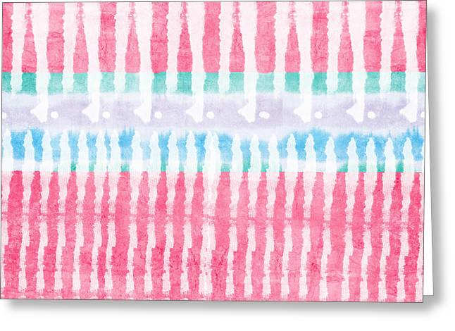 Tribal Greeting Cards - Pink and Blue Tie Dye Greeting Card by Linda Woods