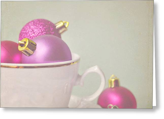 Lyn Randle Greeting Cards - Pink and gold Christmas baubles in china cup. Greeting Card by Lyn Randle