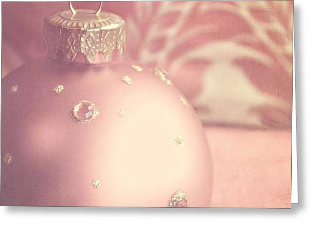 Lyn Randle Greeting Cards - Pink and gold ornate Christmas bauble Greeting Card by Lyn Randle