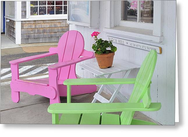 Pink And Green Chairs Watch Hill Rhode Island Greeting Card by Marianne Campolongo