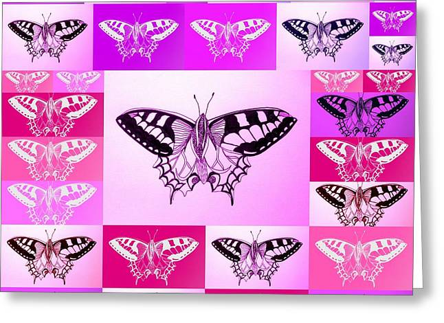 Cushion Drawings Greeting Cards - Pink And Purple Greeting Card by Cathy Jacobs