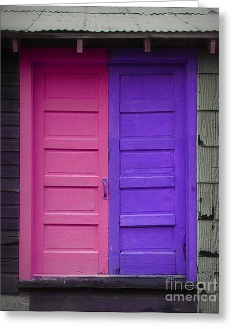 Becky Greeting Cards - Pink and Purple Doors Greeting Card by Becky Hayes