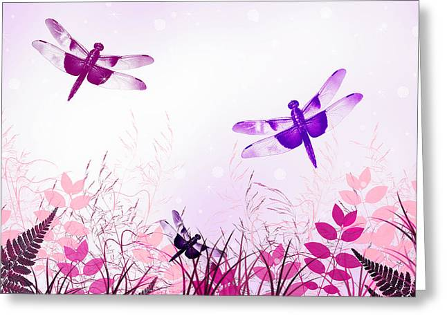 Dragonfly Art Greeting Cards - Pink And Purple Dragonfly Art Greeting Card by Christina Rollo