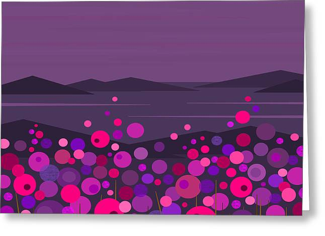 Pink And Purple Greeting Cards - Pink and Purple Evening Flowers Greeting Card by Val Arie