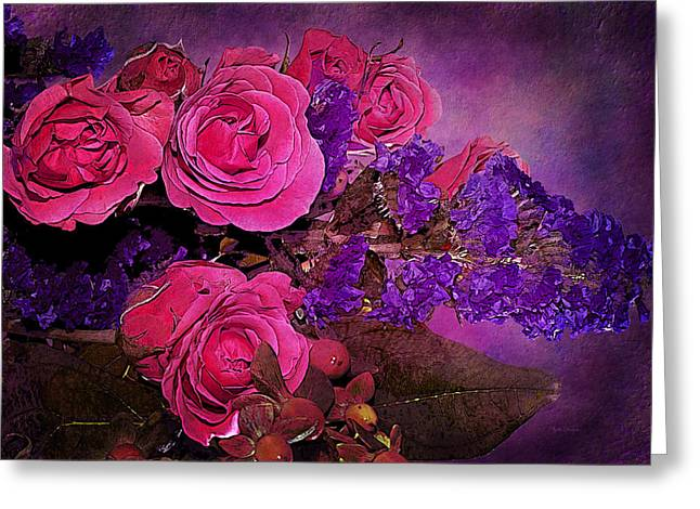 Recently Sold -  - Modern Digital Art Digital Art Greeting Cards - Pink And Purple Floral Bouquet Greeting Card by Phyllis Denton