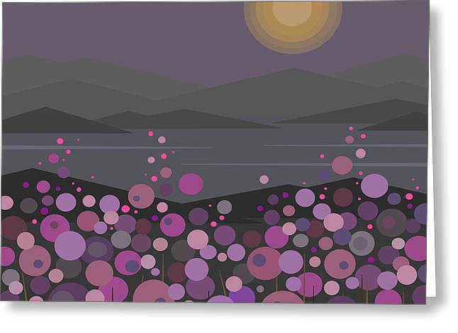Pink And Purple Flowers Greeting Cards - Pink and Purple Flowers at Evening Greeting Card by Val Arie