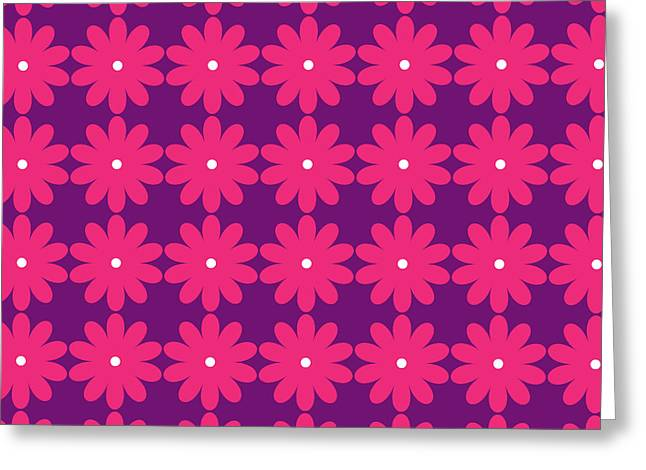 Teen Greeting Cards - Pink and Purple Flowers Greeting Card by Linda Woods