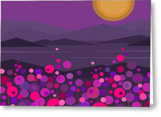 Minimalist Landscape Greeting Cards - Pink and Purple Flowers Greeting Card by Val Arie
