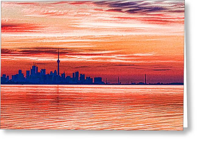 Gloaming Greeting Cards - Pink and Purple Sunrise - Toronto Skyline Impressions Greeting Card by Georgia Mizuleva