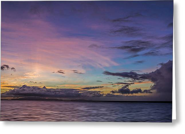 Ocean Photography Greeting Cards - Pink and Purple Sunset Greeting Card by Maria Coulson